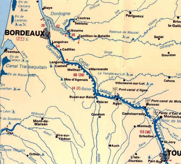Carte Garonne et Canal latéral