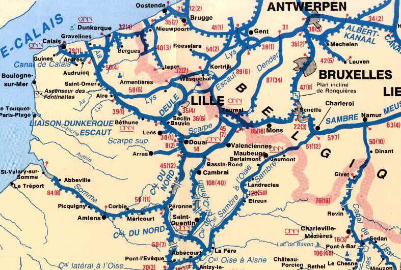 Fleuves, rivières et canaux nord de la france carte vagnon