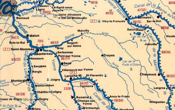 source de la seine carte Carte Seine Sud